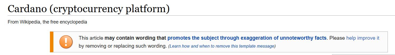 Фрагмент предупреждения со страницы Cardano Wikipedia